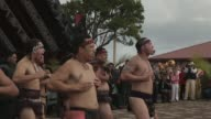 Mid shot of Maori warriors performing traditional dance New Zealand Taniwha and Dragon Festival on April 27 2013 in Auckland New Zealand Mid shot of...