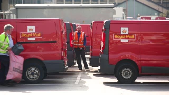 Mid Shot Royal Mail vans at Mount Pleasant sorting office