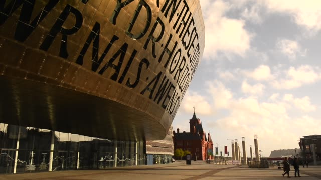 Mid Shot Wales Millennium Centre Cardiff on October 23 2013 Wales Millennium Centre is an arts centre located in the Cardiff Bay area of Cardiff...