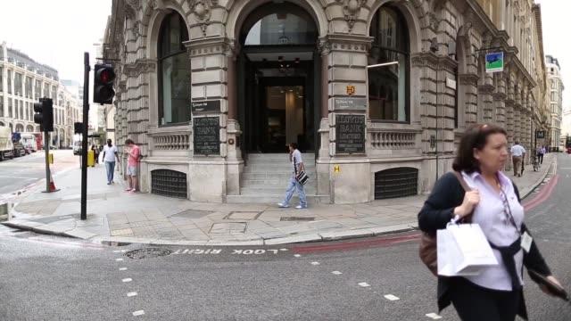 Mid Tilt Up Shot Lloyds TSB Bank on Threadneedle Street