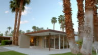 WS TS mid-century modern home surrounded by tall palm trees and a living room with floor to ceiling glass windows and large overhang roof projection outside supported by one post to shade the living room
