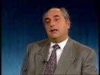 Faisal Husseinin interview CF ENGLAND London ITN CMS Faisal Husseini intvwd SOF Palestinian delegation is a matter for us not James Baker / people...