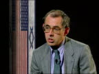 London ITN MS Prof Fred Halliday intvwd SOF Israelis might go ahead with talks on basis that Palestinian issue is marginalised that Israelis want US...