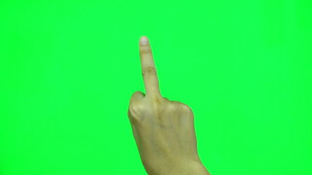 Middle finger auf grünen Bildschirm.