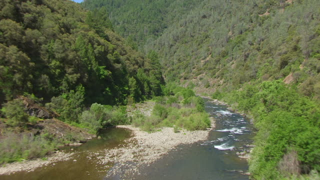 WS AERIAL POV Middle Fork of the American River in California