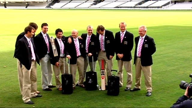 Middlesex prepare for Twenty20 Champions League EXT Vinny Codrington walking round perimter of Lord's with unidentified man Members of Middlesex...