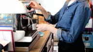 Midsection Of Female Barista Preparing Coffee