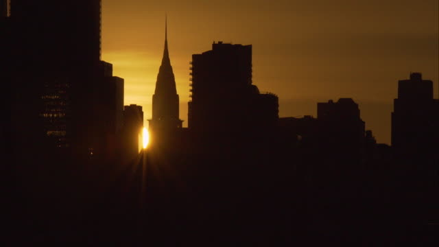 Midtown skyline of Manhattan at sunrise.