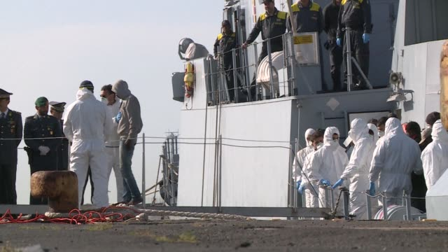 220 migrants arrive by boat into the port of Catania Sicily the latest arrivals in a wave of refugees trying to reach Europe by sea