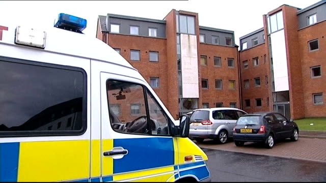 Mother due in court charged with his death SCOTLAND Edinburgh EXT Police van parked outside block of flats where Mikaeel Kular and his family lived...