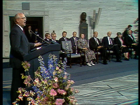 Mikhail Gorbachev's speech about Perestroika and achievements of the Soviet Union since 1985 Gorbachev thanks the audience for some award he received...