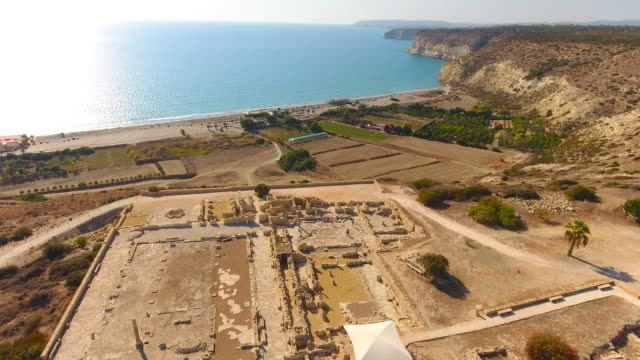 Military Base on the Edge of Cyprus Island. Cyprus. Aerial drone shot.