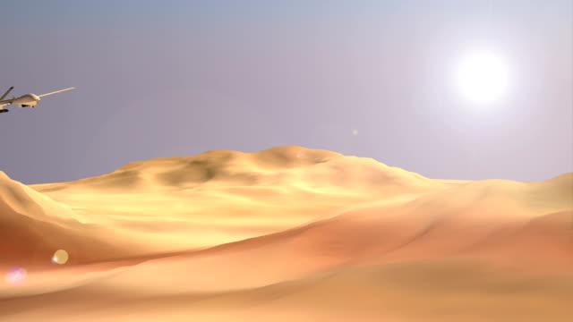 Militare brusio (UAV) volando sopra il deserto