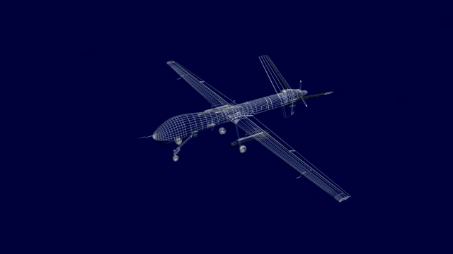 Military drone technical blueprint video