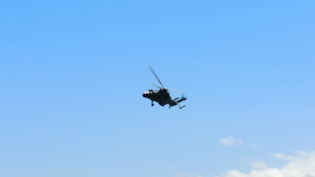 Military Eurocopter Tiger EC 665 moving in the sky
