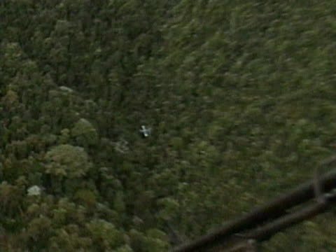 A military helicopter provides protection to a small plane spraying defoliant onto the Colombian jungle in an attempt to reveal hidden cocaine...
