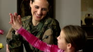 Military Mom Helps Daughter with Homework