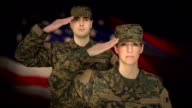 Military Personnel Salute with US Flag Background