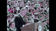 / military recruitment film Vice President Agnew addresses 101st after it arrives home back from Vietnam / CU soldiers introduce themselves