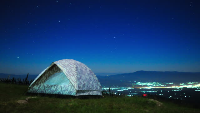Milky way timelapse at Chiangmai, Thailand with the travelers's tents on front. Near dawn and in the morning.