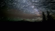 Milky Way Wide Forest and Mt. Hood Abstract Star Trails Night Time Lapse