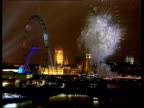 Millennium wheel opens a month late LIB London Westminster Millennium Wheel on embankment as fireworks explode on opposite bank PULL OUT
