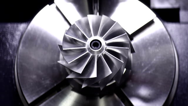 CNC milling machine polishing precise turbine