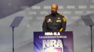 Milwaukee County Sheriff David Clarke speaks May 20 2016 during the National Rifle Association convention in Louisville Kentucky United States...