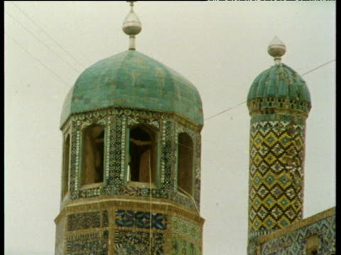 Minarets domes and mosaic work on the Blue Mosque Tomb\nof Hazrat Ali Mazar I Sharif; 1975