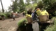 MS Miner fixing his basket / Ijen, Java, Indonesia