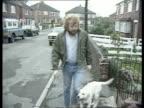 Yorkshire Sheffield TMS Wayne Linguard walking dog towards CMS Linguard towards to BV LA Linguard LR along street LA Don Keating towards out of house...