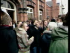 Miners' Strike / Day 8 Derbyshire Chesterfield NUM HQEXT / DAY MS Miners outside strike HQ / MS More ditto / CMS Group stand chatting PAN LR...