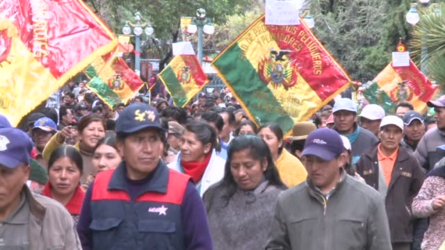 Miners teachers and other workers march in the streets of La Paz on the 12th day of protests over Bolivias retirement benefits CLEAN Workers strike...