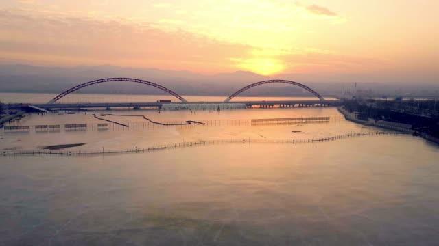 Minghu bridge aerial view in Zhangjiakou,Hebei,China