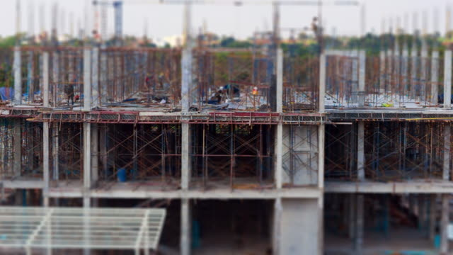Miniature construction site, tilt shift effect