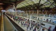 Miniature London -  Liverpool Street Station on a busy work day with trains arriving and leaving