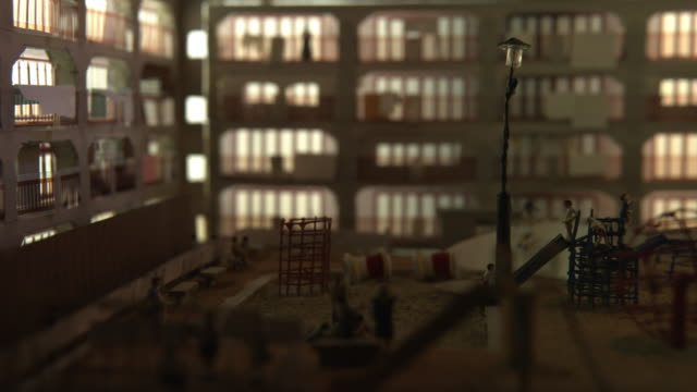 Miniature Model of Apartment Gunkanjima one of the UNESCO World Heritage sites For 5994 fps files please contact filmresearch@gettyimagescojp...