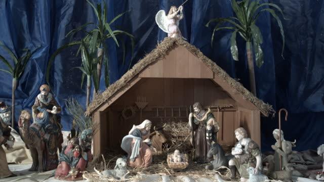 ZI, CU, Miniature Nativity scene in church, Manhattan Beach, California, USA