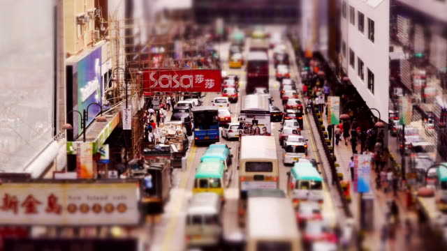 Miniature size Traffic in Kowloon, Hong Kong