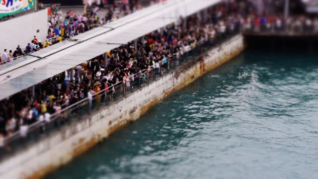 Miniaturized Crowd at Hong Kong Harbor watching Rubber Duck