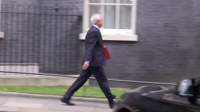 Ministers leave Downing Street after their roundtable on housing with Prime Minister Theresa May Shots include Boris Johnson Jeremy Hunt Priti Patel...