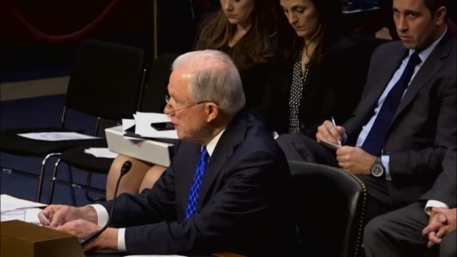 Minnesota Senator Al Franken questions former colleague Attorney General Jeff Sessions at an oversight hearing by the Senate Judiciary Committee...