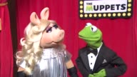 Miss Piggy Kermit The Frog on getting married and the Oscars at The Muppets UK Premiere at The Mayfair Hotel on January 26 2012 in London England