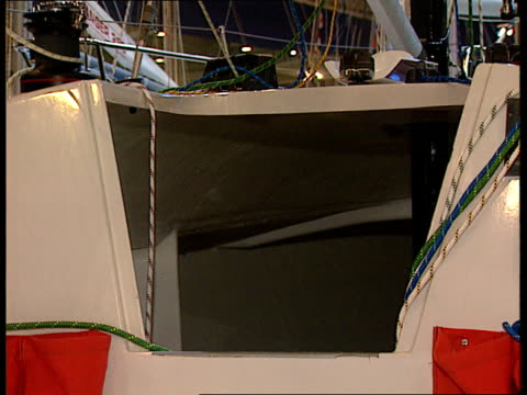 Missing yachtsman rescued Missing yachtsman rescued Boat Show Yacht at boat show and interior of cabin shown to show small space that Bullimore...