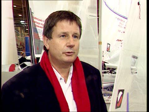 Missing yachtsman rescued Missing yachtsman rescued ITN London Boat Show INT Nigel Irens intvw Bullimore thrives on a crisis London Paddington Sir...