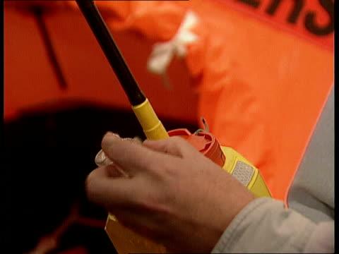 Missing yachtsman rescued Missing yachtsman rescued LIB London Boat Show as radio Beacon held in hand
