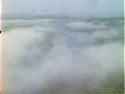 T/L mist clears to reveal ship on Panama canal, WA, Panama.