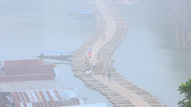 Mist, The river and Bamboo bridge