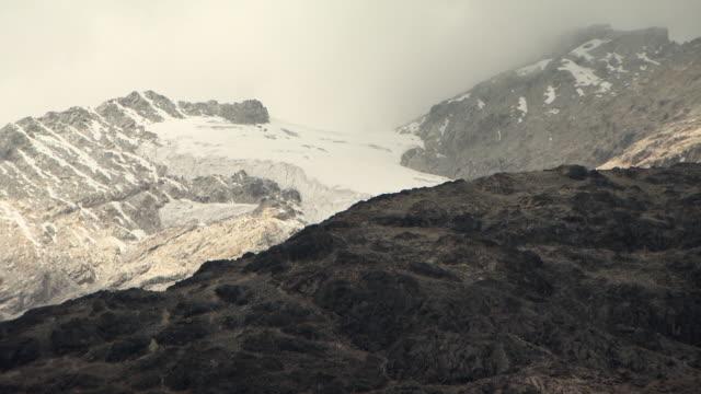 Misty ice shelf on Huayna Potosi glacier in Andes region of Bolivia
