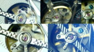 Mix of clips showing tourbillon watch close up to 4K